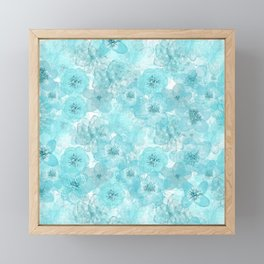 Turquoise aqua flower lace pattern Framed Mini Art Print