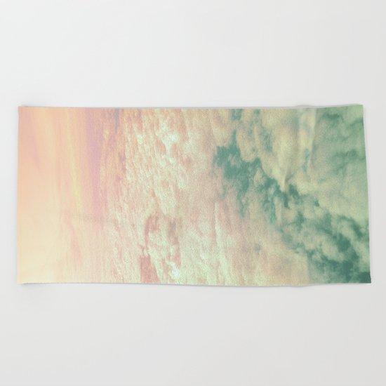 Raindbow Clouds Beach Towel