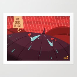 :::Rain drops of love::: Art Print