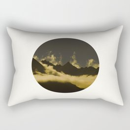 Mid Century Modern Round Circle Photo Graphic Design Mysterious Black Mountains With Rising Clouds Rectangular Pillow