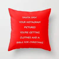 instagram Throw Pillows featuring Christmas - Instagram by Rothko