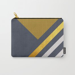 Yellow Triangle On Grey With White And Gold Stripes Carry-All Pouch