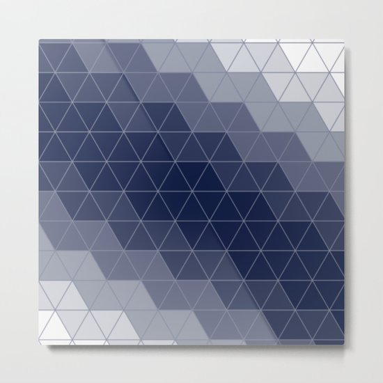 Indigo Navy Blue Triangles Metal Print