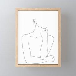 Womans body line drawing illustration - Helen Framed Mini Art Print