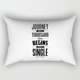 A Journey of a Thousand Miles modern black and white minimalist typography home room wall decor Rectangular Pillow