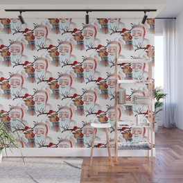 Watercolor Magical Santa Claus and Rudolf the The Red Nosed Reindeer Wall Mural