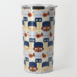 Baseball Pinstripes White and Blue - Super Cute Sports Stars Travel Mug