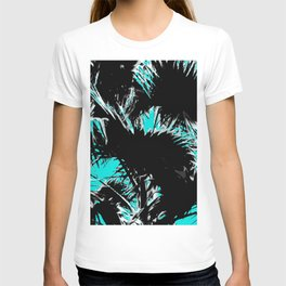 palm leaf abstract with blue background T-shirt