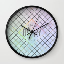 Text Art SO HAPPY | rainbow-colored Wall Clock