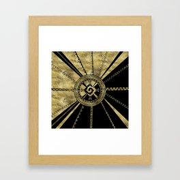 Hunab Ku Mayan symbol Black & Gold Framed Art Print