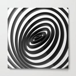 Black Concentric Rings Metal Print