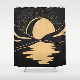 Gold Moon Shower Curtain