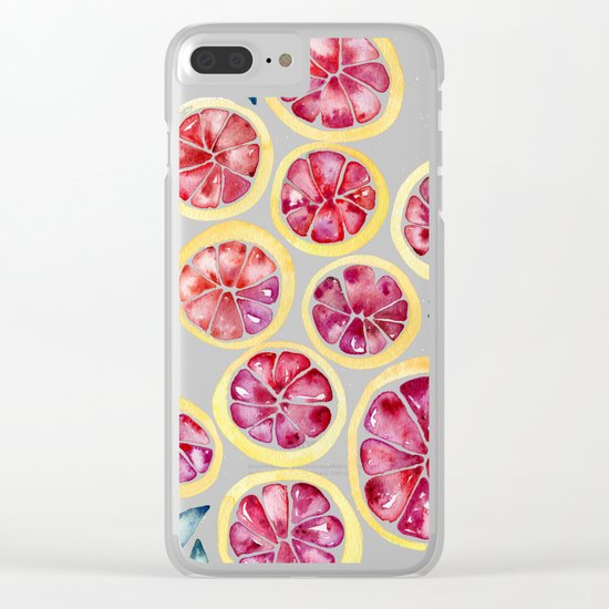 Sliced Grapefruits Watercolor Clear iPhone Case
