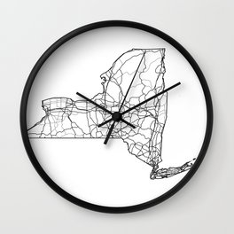 New York White Map Wall Clock