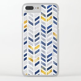 2019 Herringbone Chevron Pattern Indigo Blue Faux Gold Clear iPhone Case