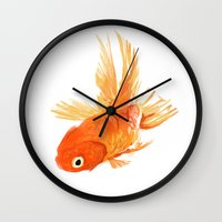 goldfish Wall Clocks featuring Goldfish by Ty Foley