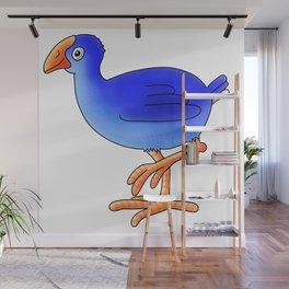 Prancing Pukeka. Native New Zealand Birds - swamphen - cute birds - blue birds Wall Mural