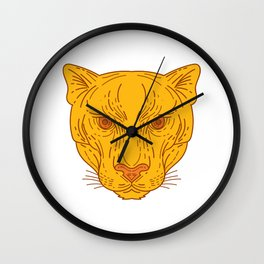 Cougar Mountain Lion Head Mono Line Wall Clock