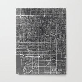 Chandler Map, Arizona USA - Charcoal Portrait Metal Print