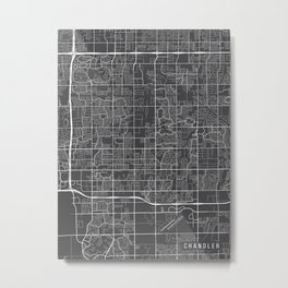 Chandler Map, Arizona USA - Charcoal Portrait Metal Print
