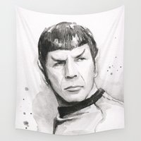 spock Wall Tapestries featuring Spock Portrait Watercolor by Olechka