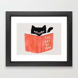 Cat reading book Framed Art Print