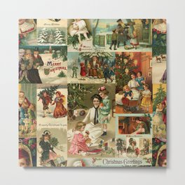 Vintage Victorian Christmas Collage Metal Print