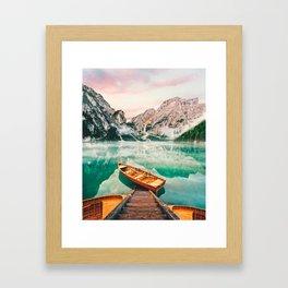 Boats on the lake Framed Art Print