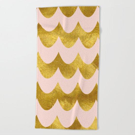 Pink Gold Foil 04 Beach Towel