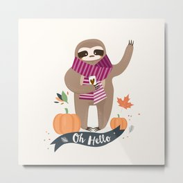 Comfy Sloth for the Fall & Pumpkin Metal Print