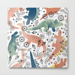 Dinos in the Garden Metal Print
