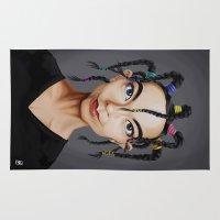 bjork Area & Throw Rugs featuring Celebrity Sunday ~ Björk by rob art | illustration