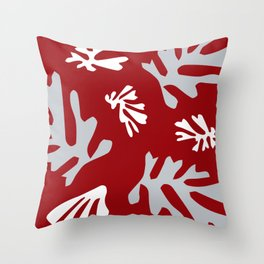 Matisse Silver & Red Holiday Leaves Throw Pillow
