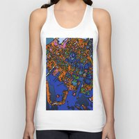 maps Tank Tops featuring Funky Maps, NEW YORK by MehrFarbeimLeben