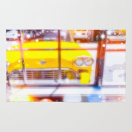 yellow classic taxi car with colorful bokeh light abstract background Rug