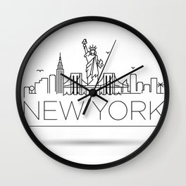 Minimal New York Skyline Design Wall Clock