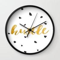 hustle Wall Clocks featuring Hustle by Jenna Davis Designs