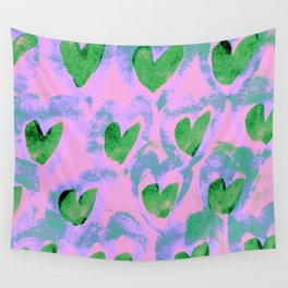 Waving Hearts ~ Green With Love Wall Tapestry