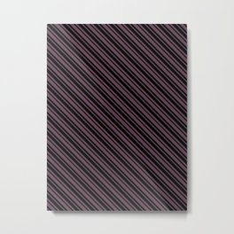 Eggplant Violet and Black Diagonal LTR Var Size Stripes Metal Print