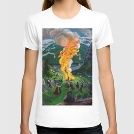 Tyrol Alpine River Valley Bonfires of the Summer Solstice landscape painting by Nikolai Astrup T-shirt