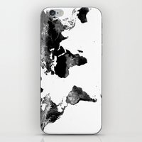 map of the world iPhone & iPod Skins featuring World Map  Black & White by WhimsyRomance&Fun