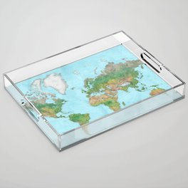 Watercolor physical world map (high detail) Acrylic Tray