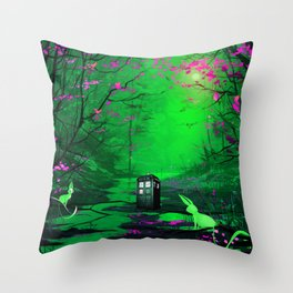 Tardis Stay Lost In The Forest Throw Pillow