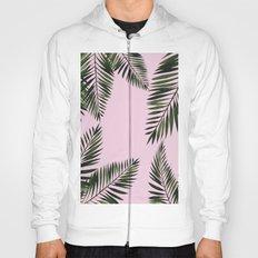 Watercolor tropical palm leaves pink Hoody