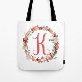 Personal monogram letter 'K' flower wreath Tote Bag
