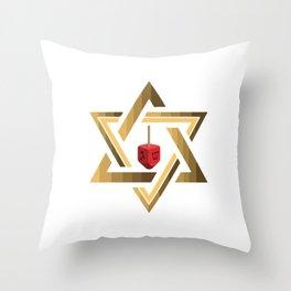 Star Of David Jewish Dreidel Throw Pillow