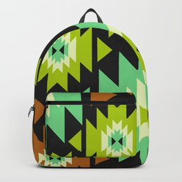 Ethnic shapes in green and brown Backpack