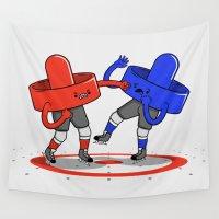 hockey Wall Tapestries featuring Air Hockey Brawl by Jake Friedman