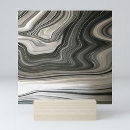 Black and White Artistic Marble Background Mini Art Print