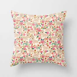 Doxie Florals - vintage doxie and florals gift gifts for dog lovers, dachshund decor, cream doxie Throw Pillow